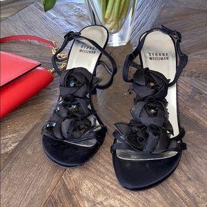 Stuart Weitzman Floral Black Strappy Heels
